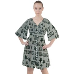 Army Stong Military Boho Button Up Dress