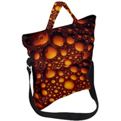 Bubbles Abstract Art Gold Golden Fold Over Handle Tote Bag