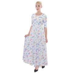 Texture Background Pastel Box Half Sleeves Maxi Dress