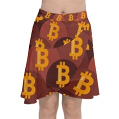 Cryptocurrency Bitcoin Digital Chiffon Wrap Front Skirt
