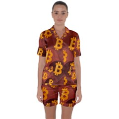 Cryptocurrency Bitcoin Digital Satin Short Sleeve Pyjamas Set