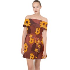 Cryptocurrency Bitcoin Digital Off Shoulder Chiffon Dress