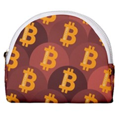 Cryptocurrency Bitcoin Digital Horseshoe Style Canvas Pouch