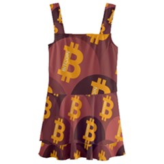 Cryptocurrency Bitcoin Digital Kids  Layered Skirt Swimsuit