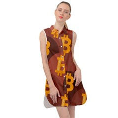Cryptocurrency Bitcoin Digital Sleeveless Shirt Dress by HermanTelo