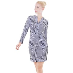 Illustrations Entwine Fractals Button Long Sleeve Dress