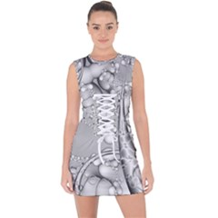 Illustrations Entwine Fractals Lace Up Front Bodycon Dress