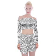 Phone Communication Technology Off Shoulder Top With Mini Skirt Set by HermanTelo
