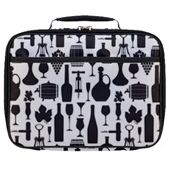 Wine Pattern Black White Full Print Lunch Bag