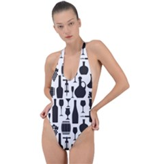 Wine Pattern Black White Backless Halter One Piece Swimsuit