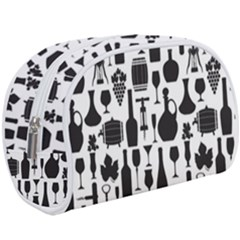 Wine Pattern Black White Makeup Case (large)