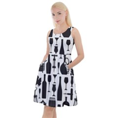 Wine Pattern Black White Knee Length Skater Dress With Pockets