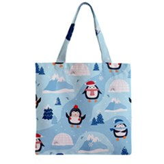 Christmas Seamless Pattern With Penguin Zipper Grocery Tote Bag by Vaneshart