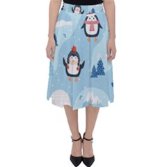 Christmas Seamless Pattern With Penguin Classic Midi Skirt by Vaneshart