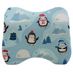 Christmas Seamless Pattern With Penguin Velour Head Support Cushion by Vaneshart
