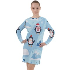 Christmas Seamless Pattern With Penguin Long Sleeve Hoodie Dress