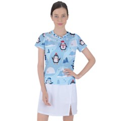 Christmas Seamless Pattern With Penguin Women s Sports Top
