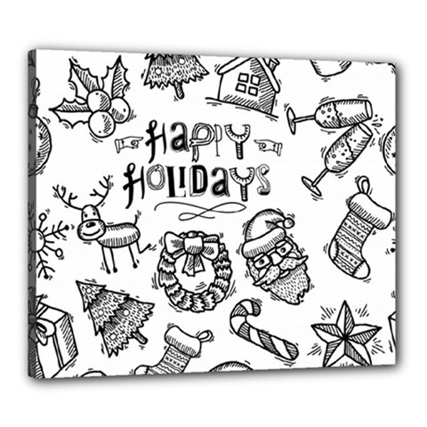 Christmas Seamless Pattern Doodle Style Canvas 24  X 20  (stretched)