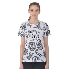 Christmas Seamless Pattern Doodle Style Women s Cotton Tee