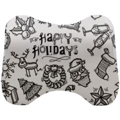Christmas Seamless Pattern Doodle Style Head Support Cushion