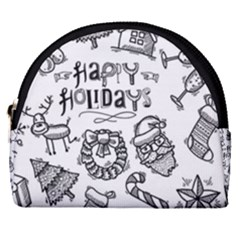 Christmas Seamless Pattern Doodle Style Horseshoe Style Canvas Pouch by Vaneshart