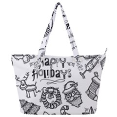 Christmas Seamless Pattern Doodle Style Full Print Shoulder Bag by Vaneshart