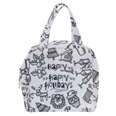 Christmas Seamless Pattern Doodle Style Boxy Hand Bag by Vaneshart