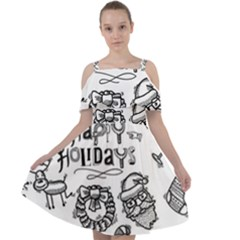 Christmas Seamless Pattern Doodle Style Cut Out Shoulders Chiffon Dress