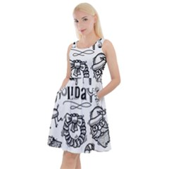 Christmas Seamless Pattern Doodle Style Knee Length Skater Dress With Pockets