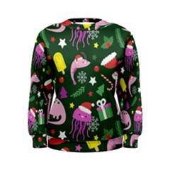 Colorful Funny Christmas Pattern Women s Sweatshirt by Vaneshart