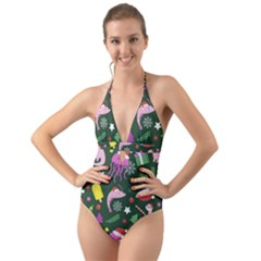 Colorful Funny Christmas Pattern Halter Cut-out One Piece Swimsuit
