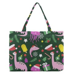 Colorful Funny Christmas Pattern Zipper Medium Tote Bag