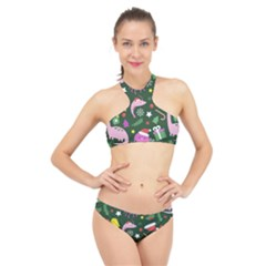 Colorful Funny Christmas Pattern High Neck Bikini Set