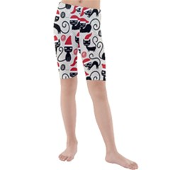 Cute Christmas Seamless Pattern Vector Kids  Mid Length Swim Shorts