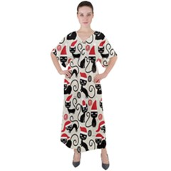 Cute Christmas Seamless Pattern Vector V-neck Boho Style Maxi Dress