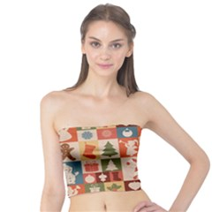 Cute Christmas Seamless Pattern Vector Tube Top by Vaneshart