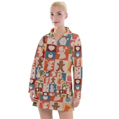 Cute Christmas Seamless Pattern Vector Women s Long Sleeve Casual Dress