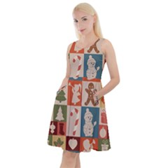 Cute Christmas Seamless Pattern Vector Knee Length Skater Dress With Pockets