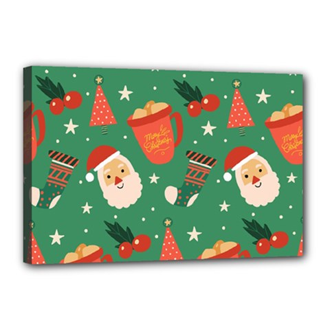 Colorful Funny Christmas Pattern Canvas 18  X 12  (stretched)