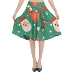 Colorful Funny Christmas Pattern Flared Midi Skirt