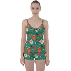 Colorful Funny Christmas Pattern Tie Front Two Piece Tankini