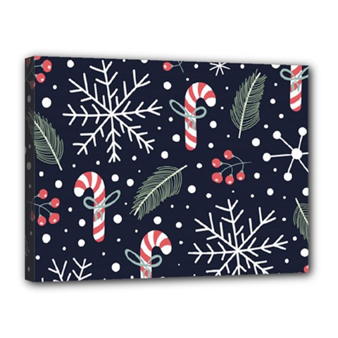 Holiday Seamless Pattern With Christmas Candies Snoflakes Fir Branches Berries Canvas 16  X 12  (stretched)