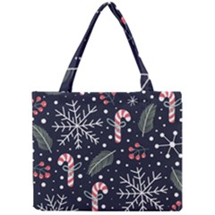 Holiday Seamless Pattern With Christmas Candies Snoflakes Fir Branches Berries Mini Tote Bag