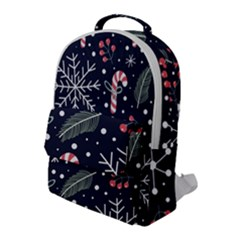 Holiday Seamless Pattern With Christmas Candies Snoflakes Fir Branches Berries Flap Pocket Backpack (large)