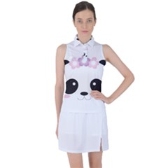 Panda Face Women s Sleeveless Polo Tee