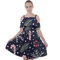 Holiday Seamless Pattern With Christmas Candies Snoflakes Fir Branches Berries Cut Out Shoulders Chiffon Dress