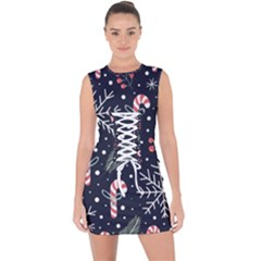 Holiday Seamless Pattern With Christmas Candies Snoflakes Fir Branches Berries Lace Up Front Bodycon Dress