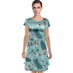 Seamless Pattern With Berries Leaves Cap Sleeve Nightdress
