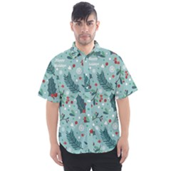 Seamless Pattern With Berries Leaves Men s Short Sleeve Shirt