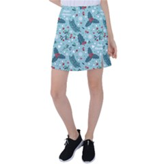 Seamless Pattern With Berries Leaves Tennis Skirt